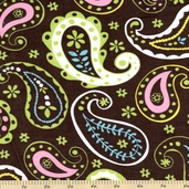 Cool Cords Paisley Corduroy Cotton Fabric - Brown