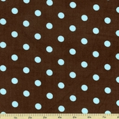 Cool Cords Polka Dot Corduroy Cotton Fabric - Blue Jay