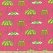 Cool Cords Umbrellas Corduroy Cotton Fabric - Hot Pink