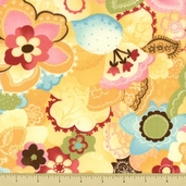Coquette Cotton Fabric - Doily Flowers - Buttercup