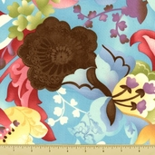 Coquette Cotton Fabric - Large Floral - Aqua