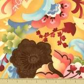 Coquette Cotton Fabric - Large Floral - Buttercup