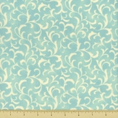 Coquette Cotton Fabric - Scroll - Aqua
