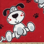 Coral Fleece Blushing Pup 60 Inch Polyester Fabric - Red