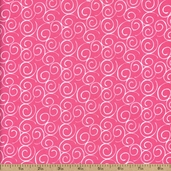 Corder Swirls Cotton Fabric - Pink - CLEARANCE