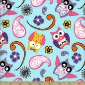 Cordero Owl Paisley Cotton Fabric - Aqua - CLEARANCE