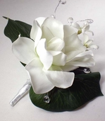 Corsage Camellia with Crystal Beads - 6in - White
