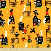 Costume Clubhouse Cotton Fabric - Trick or Treaters - Orange