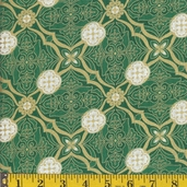 Cotton Fabric Print Christmas Damask Squares- Green
