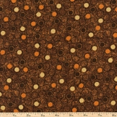 Counting Kittens Circles Cotton Fabric - Dark Brown