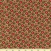 Country Manor Floral Cotton Fabric - Light Brown