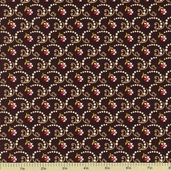 Country Manor Medium Floral Cotton Fabric - Brown - Clearance