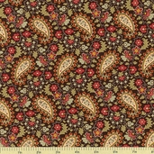 Country Manor Paisley Cotton Fabric - Brown