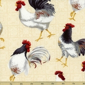 Country Touch Chicken Toss Cotton Fabric - Cream 44009-119W