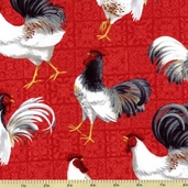 Country Touch Chicken Toss Cotton Fabric - Red 44009-319W