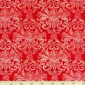 Country Touch Damask Cotton Fabric - Red 44012-331W