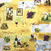 Country Vineyard Cotton Fabric - Multi