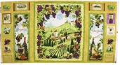 Country Vineyard Cotton Fabric Panel - Craft Multi Panel