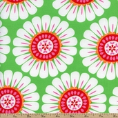 Courtney Large Floral Cotton Fabric - Green