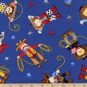 Cowboys Lasso Toss Cotton Fabric - Blue C1561