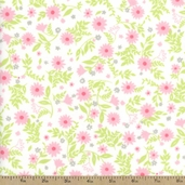 Cozy Cotton Floral Flannel Fabric - Pink