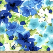 Cranston Prints Watercolor Floral Cotton Fabric - White
