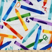 Crayon Craze Crayon Toss Cotton Fabric - Multi CX4254-MULT-D
