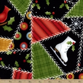 Crazy Christmas Patchwork Flannel Fabric - Black