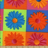 Crazy Daisy Pitchfork Cotton Fabric - Orange 10013