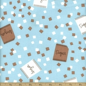 Cream and Sugar Cotton Fabric - Blue 36119-1