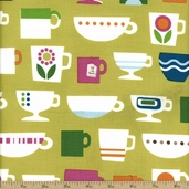Cream and Sugar Cotton Fabric - Green 36118-3