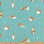 Critter Patch Organic Bunny Cotton Fabric - Blue