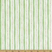 Critter Patch Stripe Organic Cotton Fabric - Green