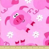 Cuddle Flannel Cotton Fabric - Pigs - Pink
