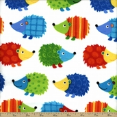 Cuddle Flannel Hedgehog Cotton Fabric - White