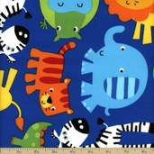 Cuddle Flannel Jungle Animals Cotton Fabric - Blue