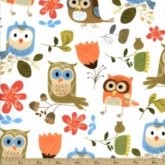 Cuddle Flannel Owl Cotton Fabric - White