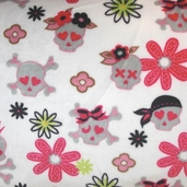 Cuddle Minky Flower N Skull - White