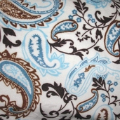 Cuddle Minky - Paisley - Light Blue and Brown