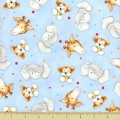 Cuddle Time Cotton Fabric - Animal - Baby Blue