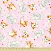 Cuddle Time Cotton Fabric - Animal Toss - Baby Pink