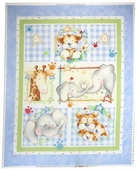 Cuddle Time Cotton Fabric - Panel - Baby Blue
