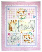 Cuddle Time Cotton Fabric - Panel - Baby Pink