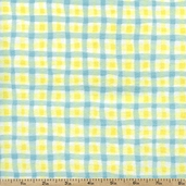 Cuddly Noah's Ark Wiggly Plaid Flannel Fabric - Blue