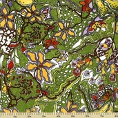 Cultivate Cotton Fabric - Floral - Olive Y1129-24