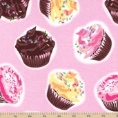 Cupcake Flannel Fabric - Pink