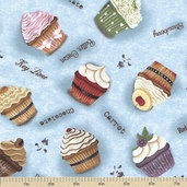 Cupcakery Cotton Fabric - Blue