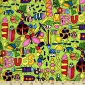Cute As a Bug Cotton Fabric - One Billion Bugs - Green 1649-22373-H