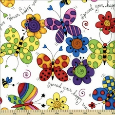 Cute As a Bug Cotton Fabric - Spread Your Wings - White 1649-22371-Z