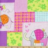 Cute Zoo Patches Cotton Fabric - Multi CX5891-MULT-D